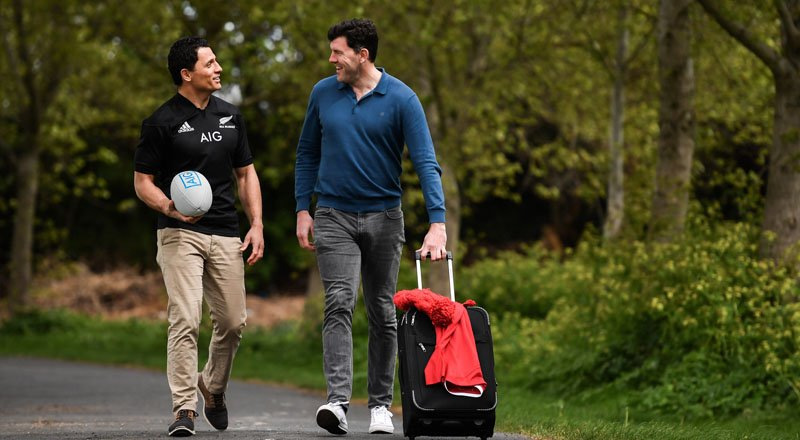 Shane Horgan and Doug Howlett promoting travel insurance
