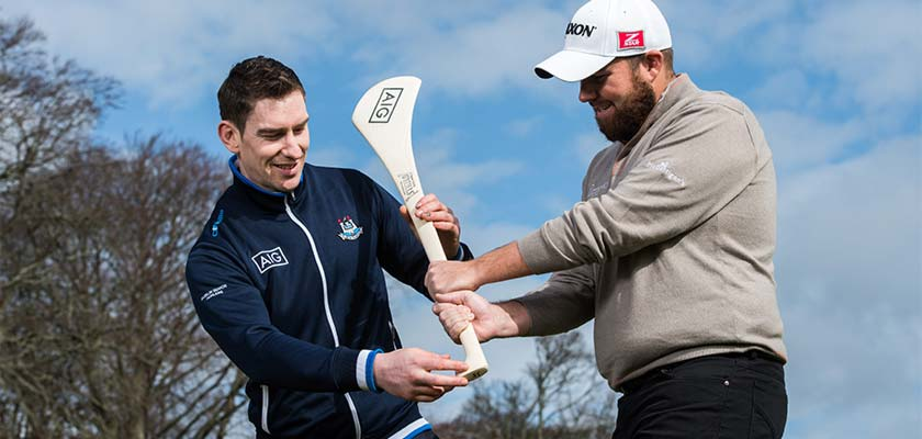Joey showing Shane Lowry a thing or two about hurling