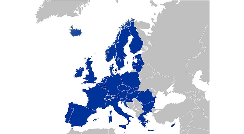 EU & EEA Region map