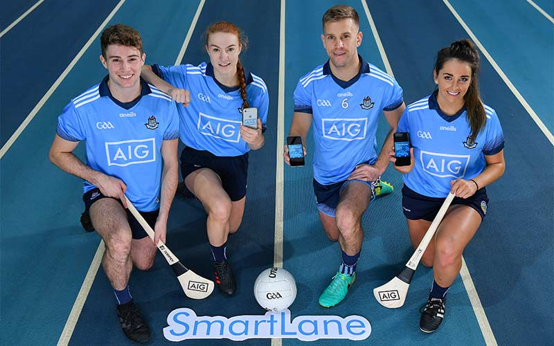 Dublin players Jonny Cooper, Lauren Magee, Jake Malone and Ali Twomey show off the AIG SmartLane App