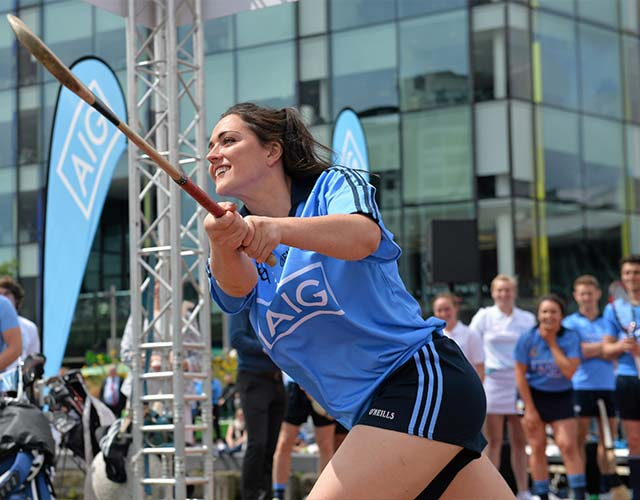 Sinead Goldrick trying her hand at Camogie