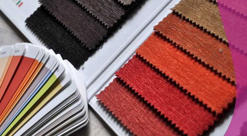 Colour swatches for paint and fabric
