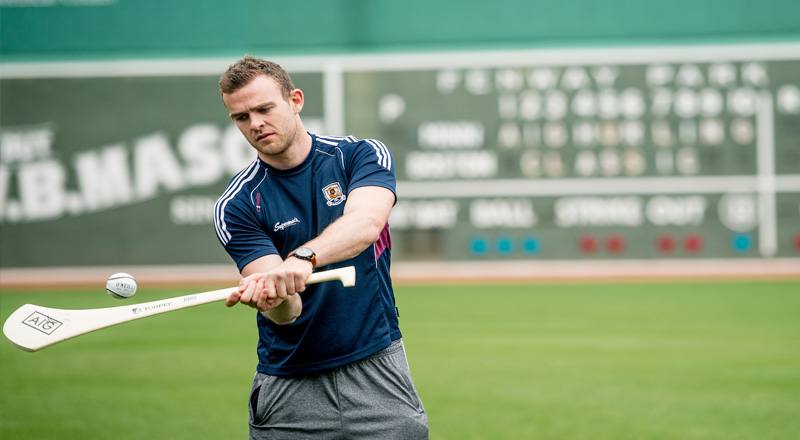 Players get ready for the Fenway Hurling Classic