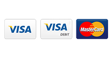 Visa, Visa Debit and Mastercard accepted